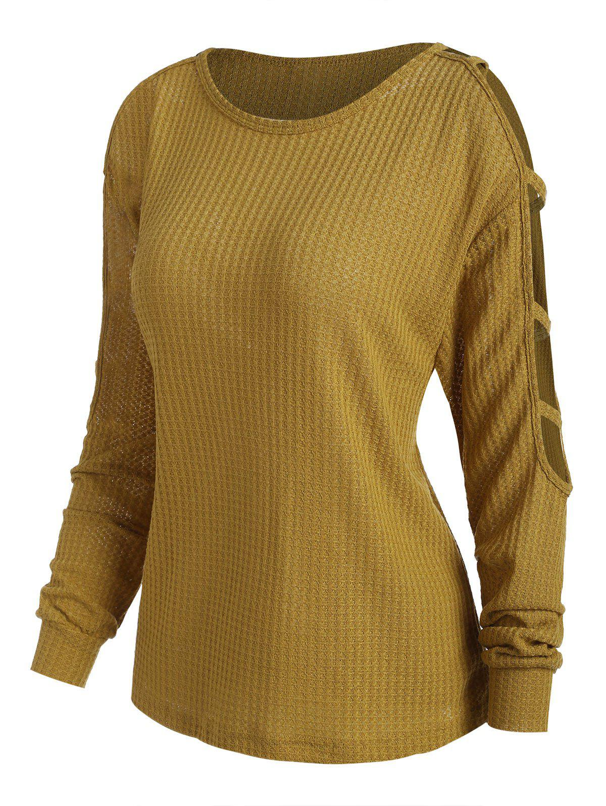 Chic Ladder Cutout Textured Solid Knitwear