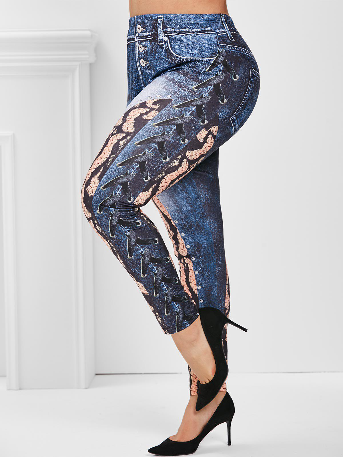 Chic High Waisted 3D Print Animal Plus Size Jeggings
