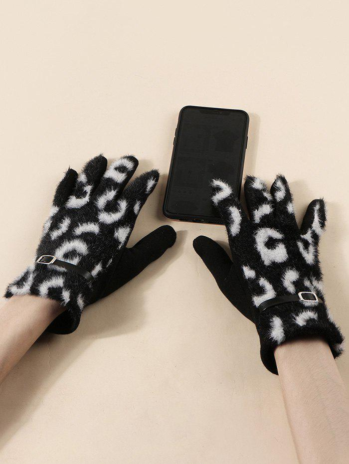 Unique Buckle Leopard Screen Touching Fluffy Gloves