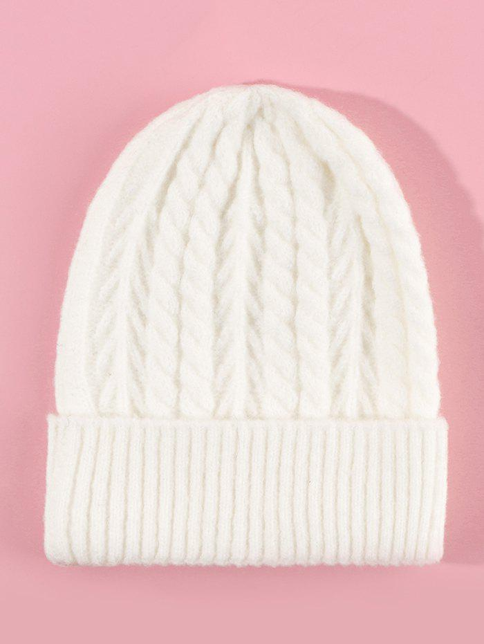 Fancy Twist Solid Turn Up Edge Knitted Hat