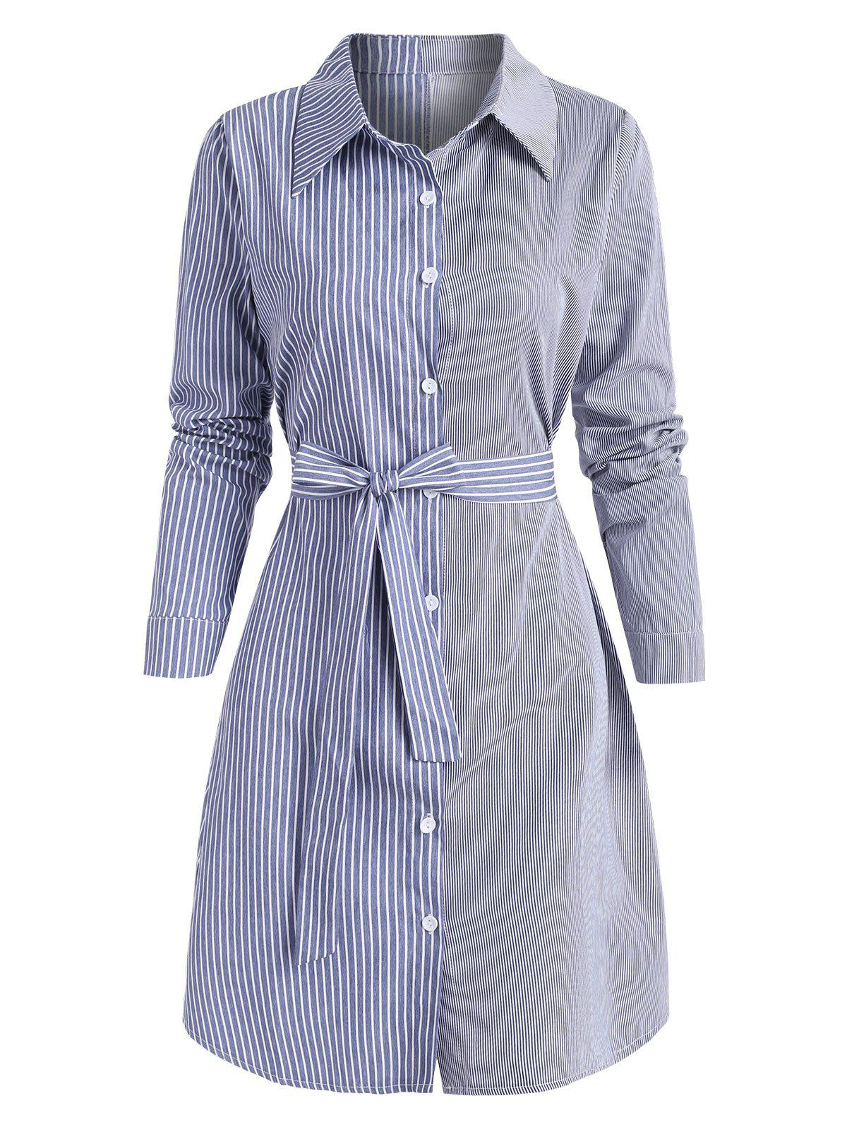 Outfits Striped Mix Belted Long Sleeve Shirt Dress