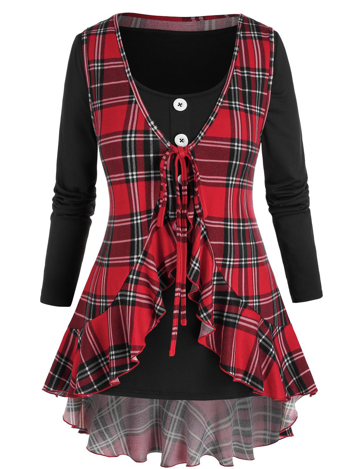 Outfit Plus Size Mock Neck T Shirt with Plaid Ruffle Vest