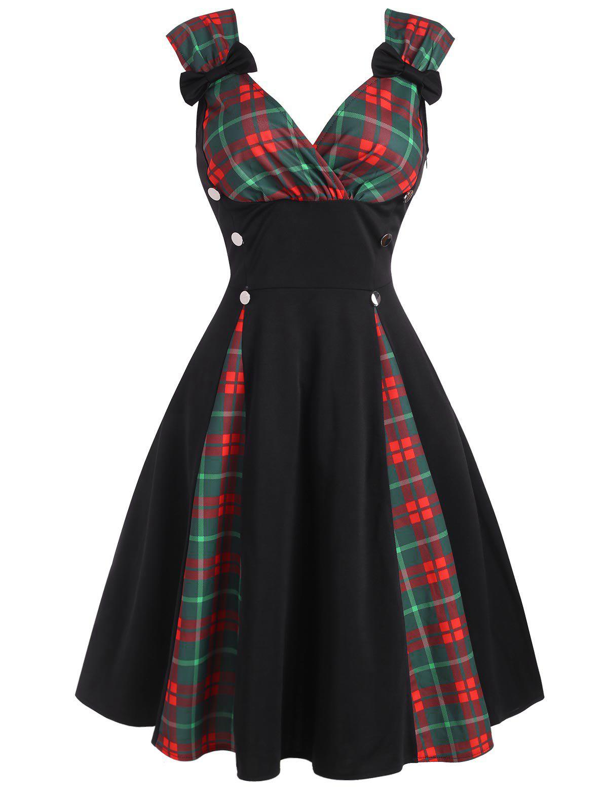 Sale Plaid Panel Bowknot Button Embellished Dress