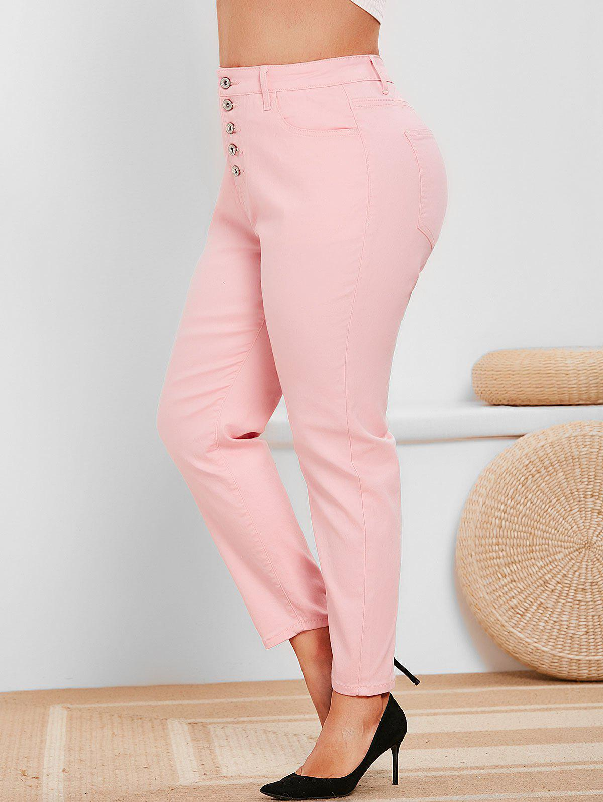 Shop Plus Size Button Fly High Rise Colored Jeans