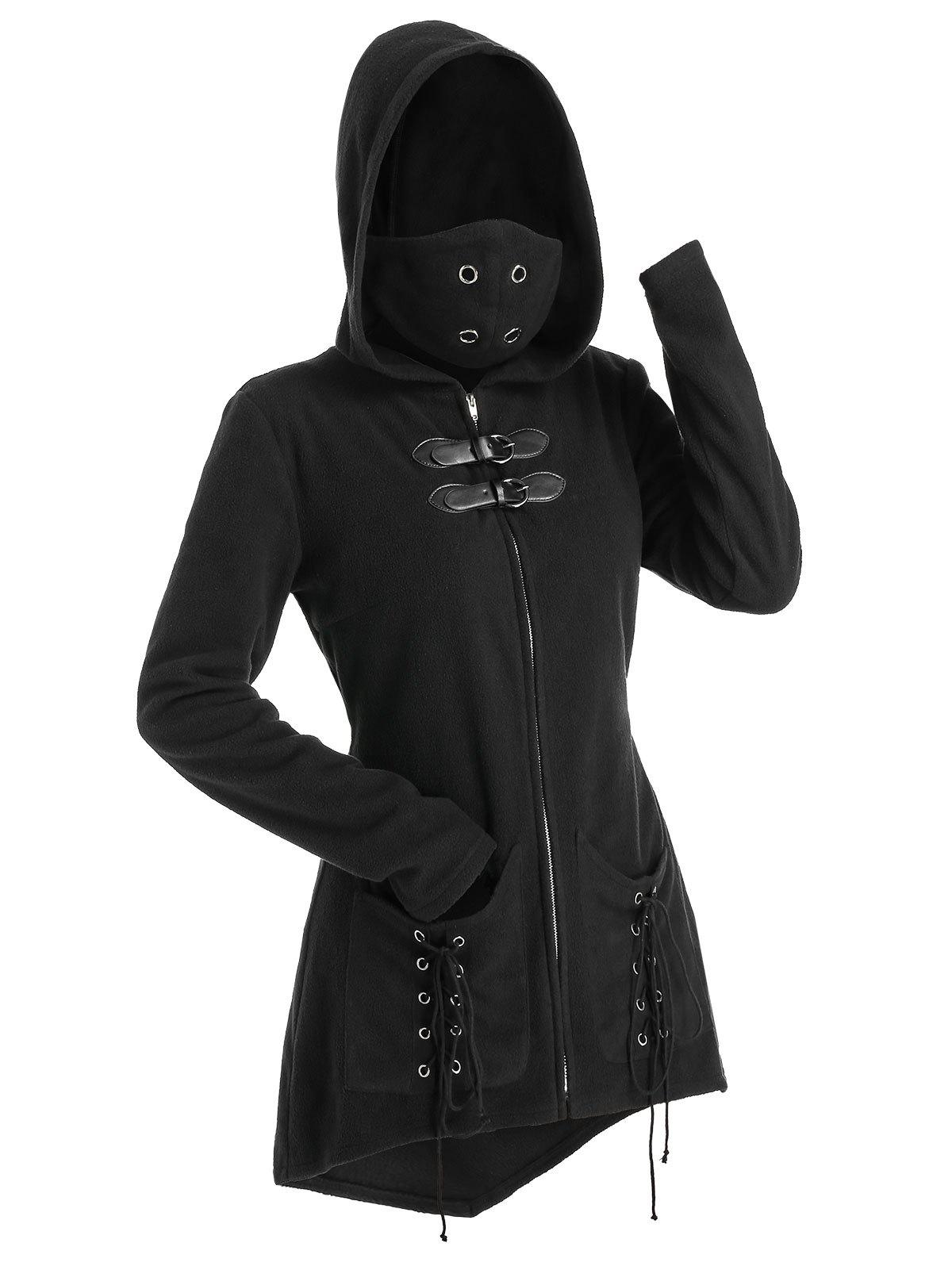 Affordable Hooded Lace-up Double Pockets Zip Up Wool Blend Mask Coat