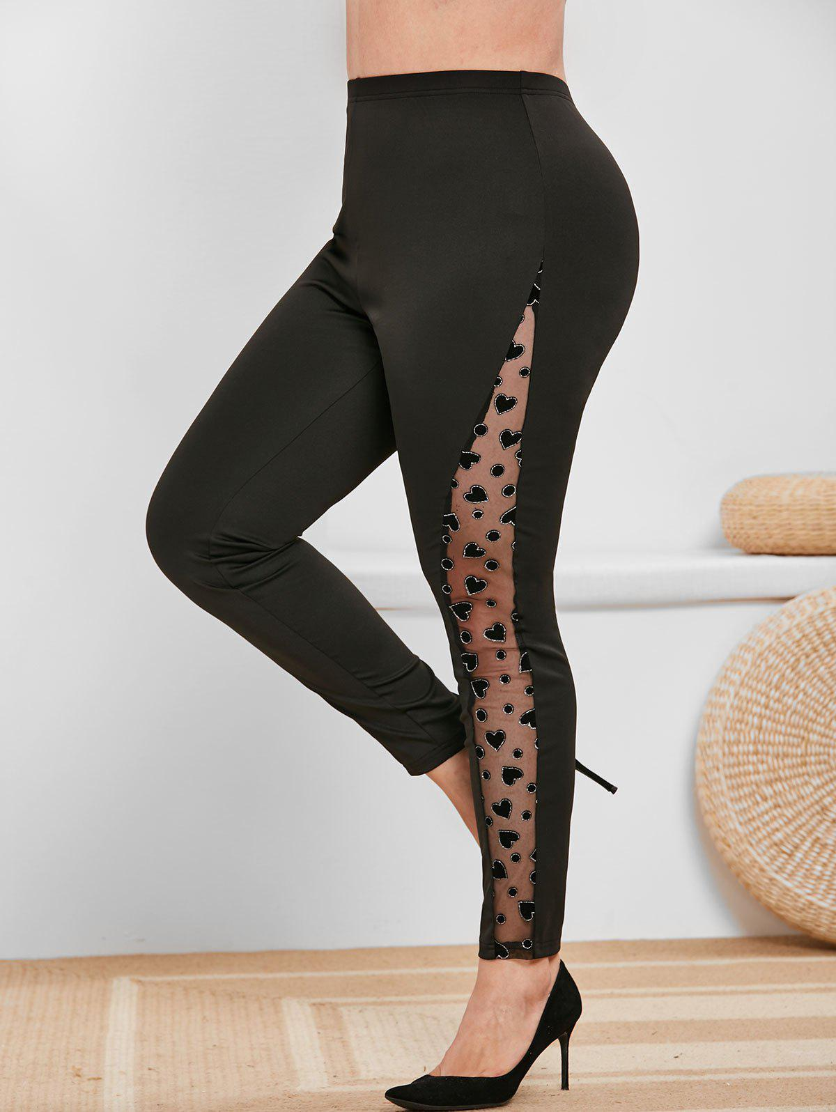 Latest Plus Size High Rise Mesh Insert Heart Pattern Pants