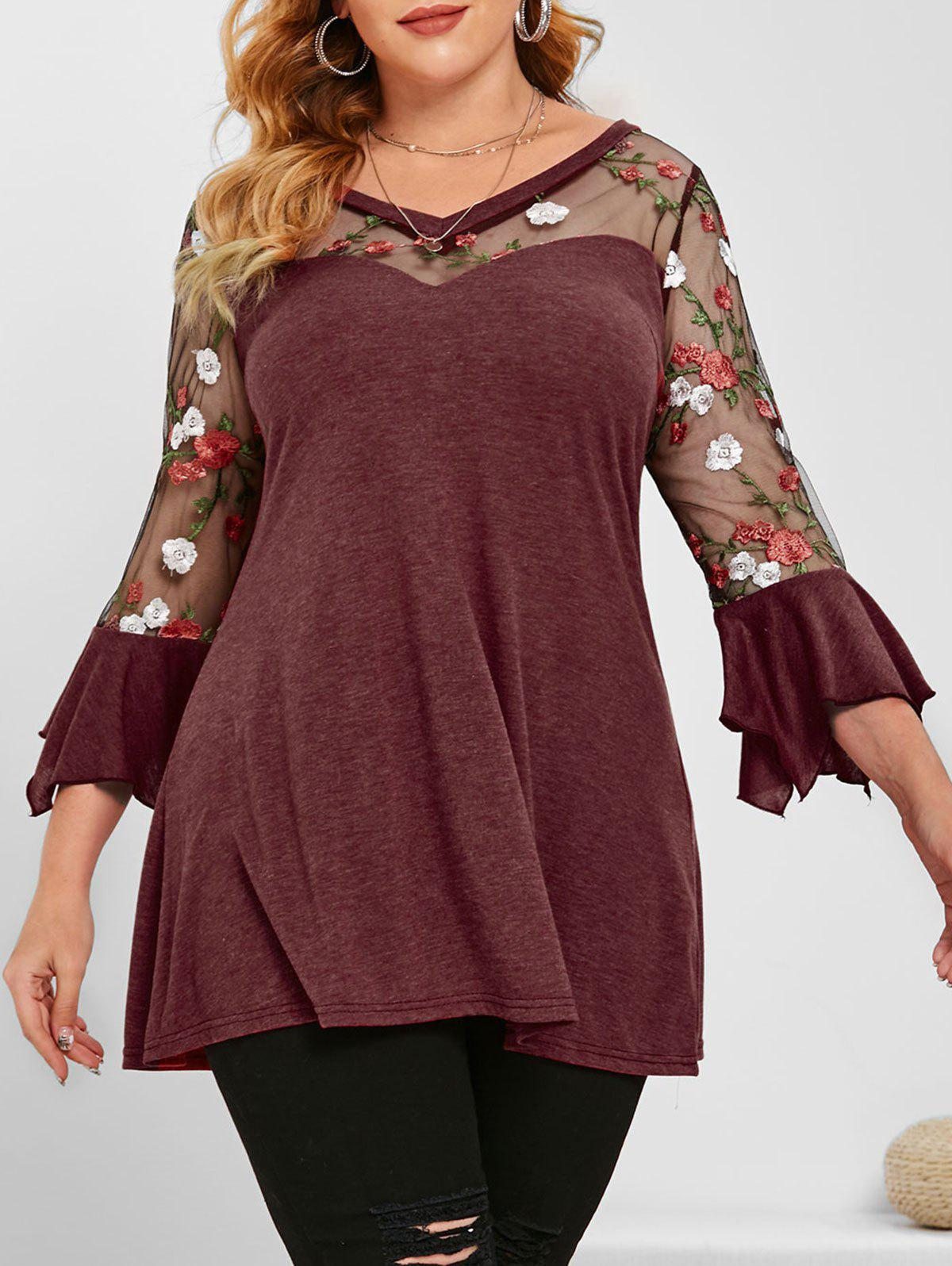 Shops Flare Sleeve Mesh Panel Floral Embroidered Plus Size Top