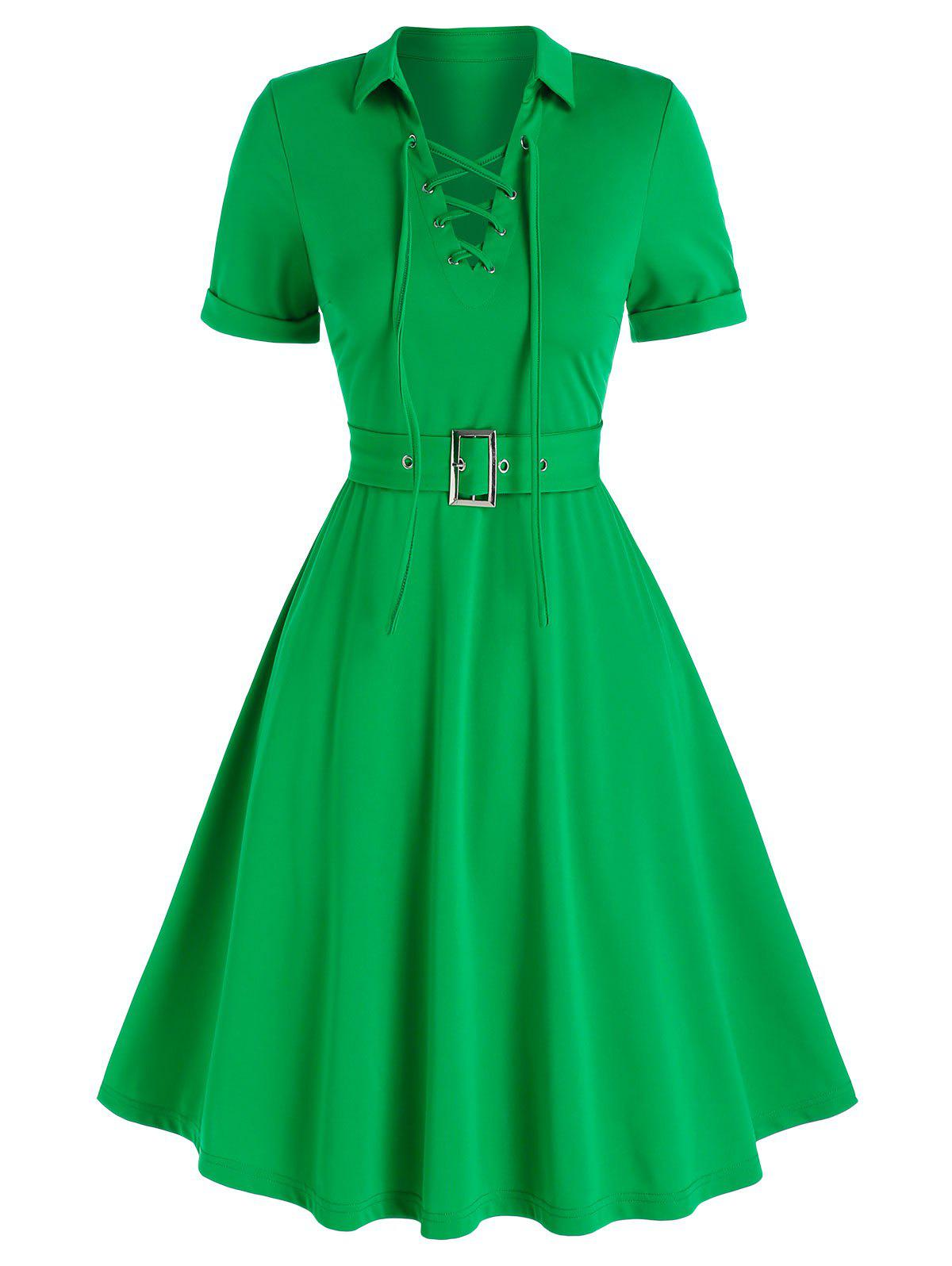 New Lace-up Front Belted Casual Dress
