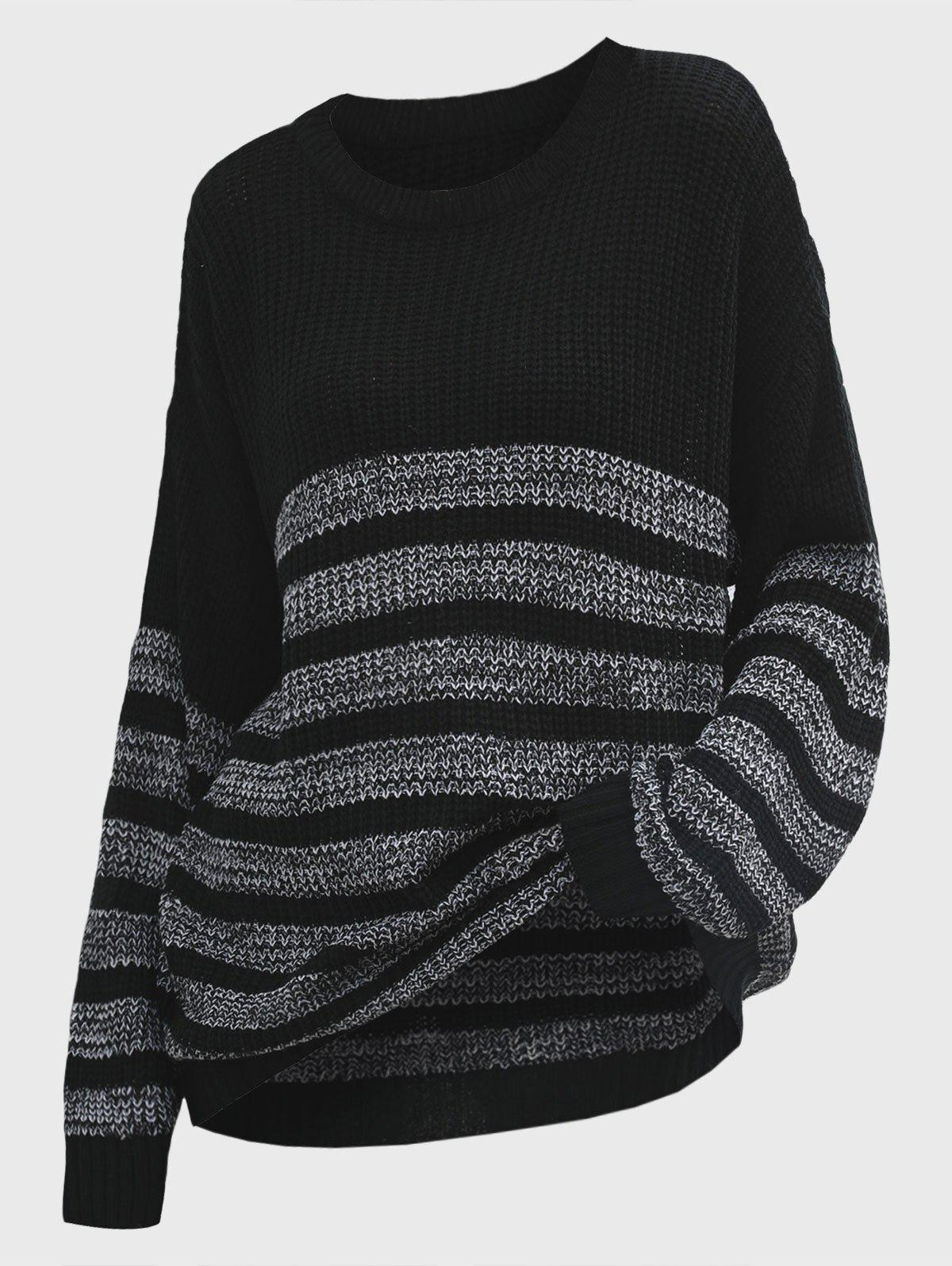 Crew Neck Striped Oversized Slouchy Sweater