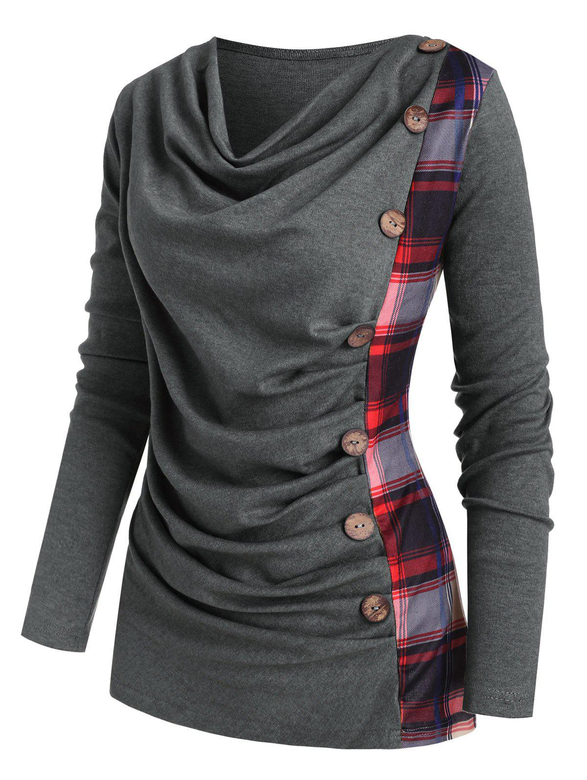 New Cowl Neck Plaid Panel Mock Button Knitwear