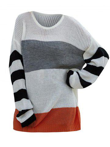Colorblock Drop Shoulder Striped Sweater