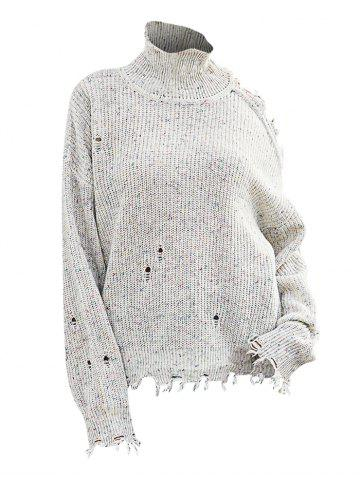 High Neck Heathered Distressed Open Shoulder Sweater - WHITE - L