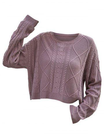 Mixed Cable Knit Drop Shoulder Sweater - LIGHT PINK - S