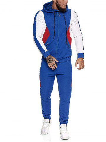 Contrast Zip Up Ribbed Hoodie and Sports Pants Two Piece Set - BLUE - L