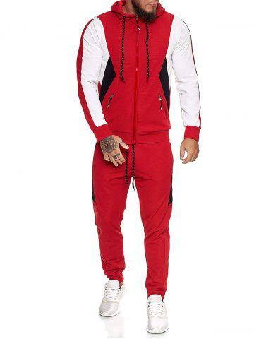 Contrast Zip Up Ribbed Hoodie and Sports Pants Two Piece Set - RED - XL