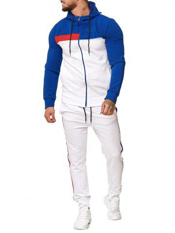 Contrast Zip Up Hoodie and Sports Pants Two Piece Set - BLUE - L