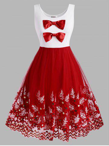 Christmas Bowknot Plant Embroidered Sequins Plus Size Dress - RED - 1X