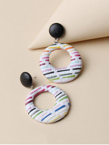 Round Colorblock  Woven Earrings - MULTI-A