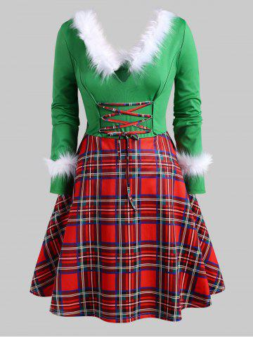 Christmas Faux Feather Plaid Lace Up Plus Size Dress - GREEN - 3X