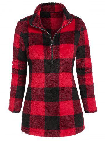 Half Zipper Plaid Plush Sweatshirt