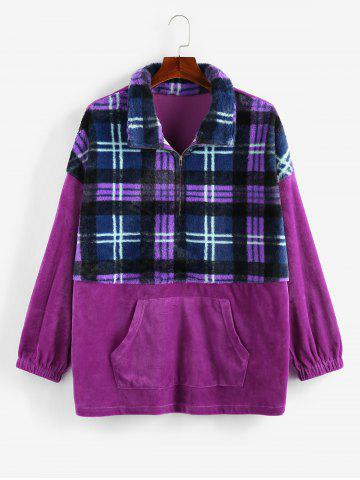 Plus Size Patchwork Half Zipper Plaid Sweatshirt - PURPLE - 5X