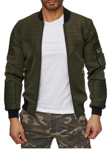 Zipper Pockets Stitching Detail Zip Up Jacket - ARMY GREEN - S