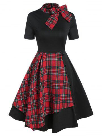Vintage Bowknot Plaid Fit y Flare Vestido - BLACK - 3XL