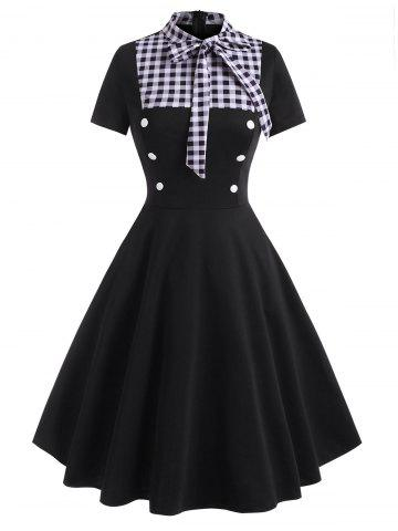Pussy Bow Gingham Mock Button Dress - BLACK - XL