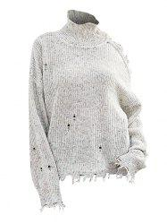 High Neck Heathered Distressed Open Shoulder Sweater -