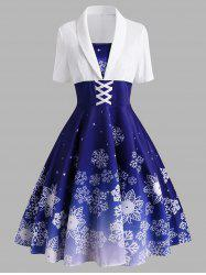Christmas Snowflake Criss Cross Velvet Panel Dress -