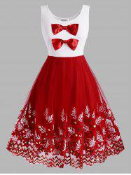 Christmas Bowknot Plant Embroidered Sequins Plus Size Dress -