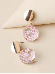 Round Flower Stud Drop Earrings -