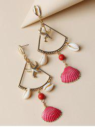 Hollow Starfish Cowrie Shell Dangle Earrings -