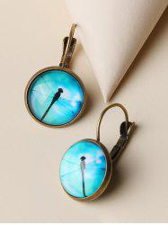 Retro Dragonfly Pattern Round Earrings -