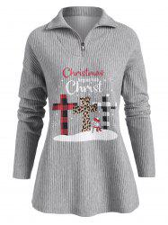 Chirstmas Snowman Christ Graphic Zip Front Sweatshirt -