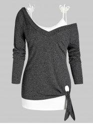 Plus Size Knitted Skew Neck Tied Top with Butterfly Applique Camisole -