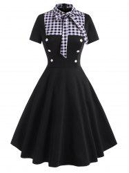 Pussy Bow Gingham Mock Button Dress -