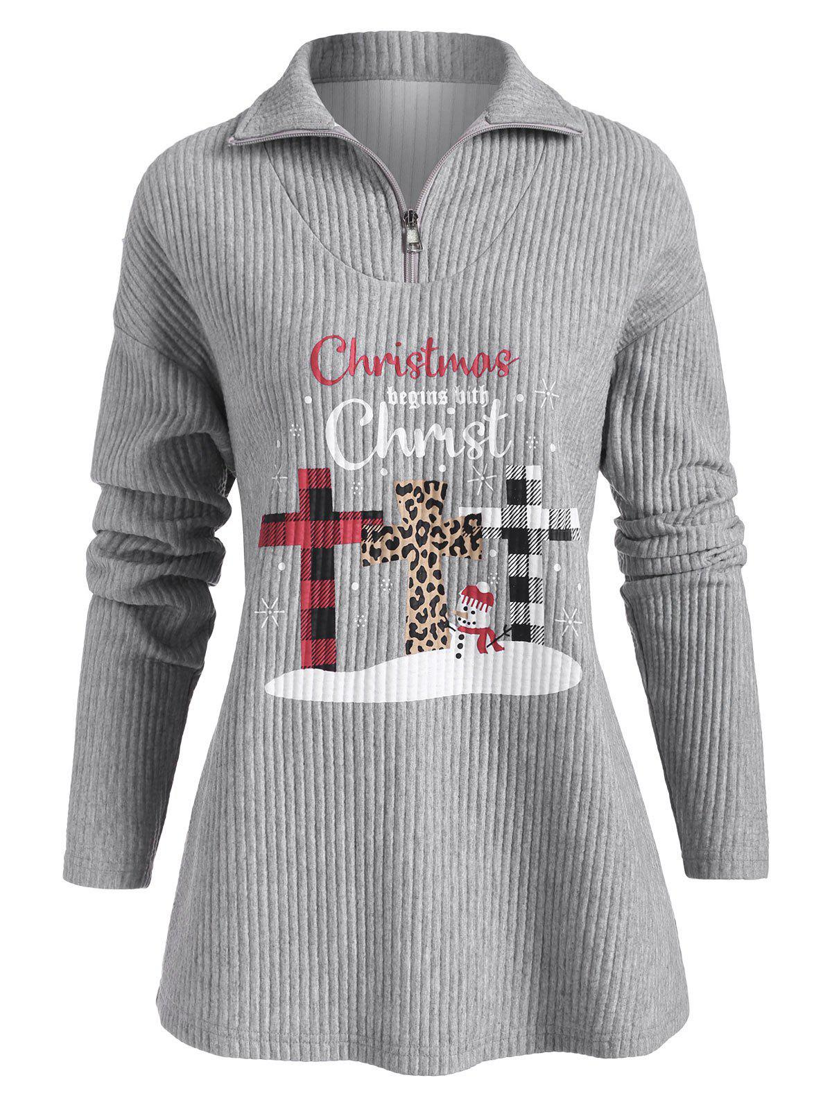 Affordable Chirstmas Snowman Christ Graphic Zip Front Sweatshirt