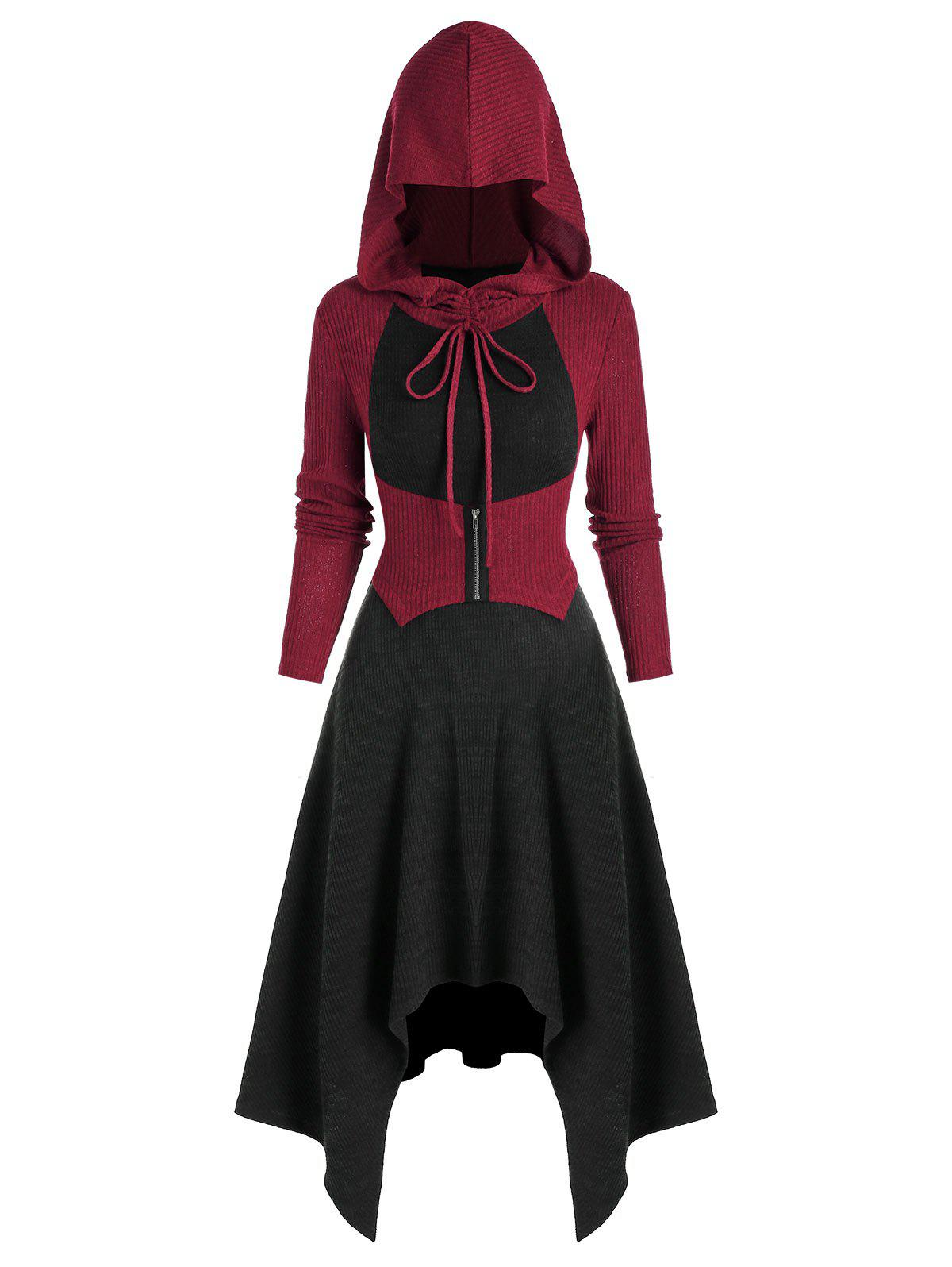 Outfits Hooded Colorblock Handkerchief Midi Dress