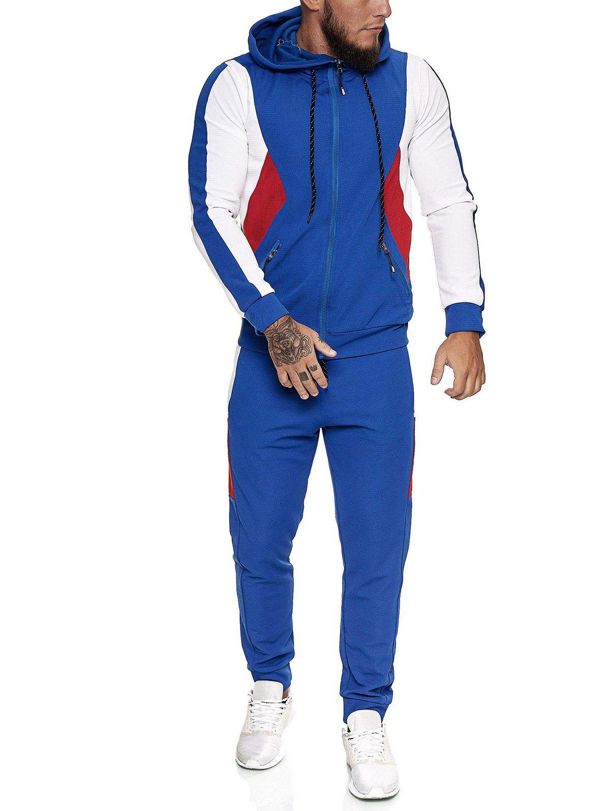 Outfits Contrast Zip Up Ribbed Hoodie and Sports Pants Two Piece Set