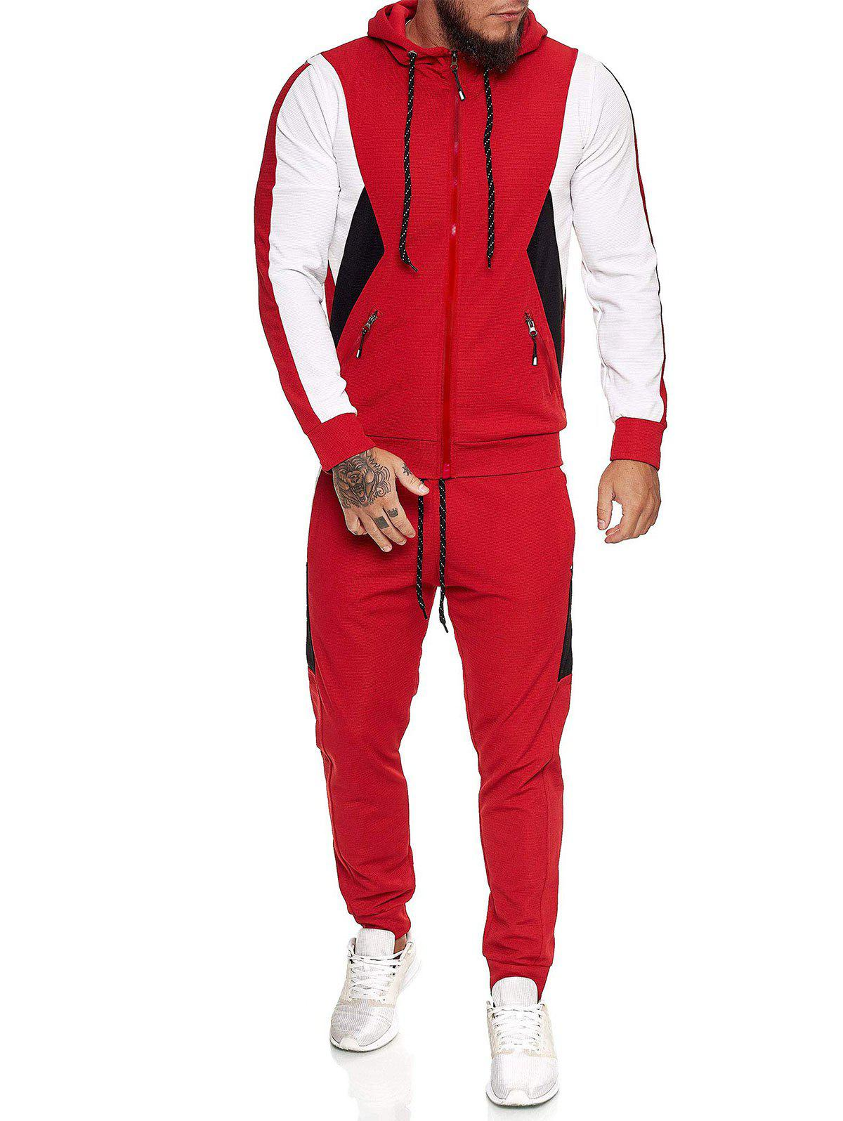 Shops Contrast Zip Up Ribbed Hoodie and Sports Pants Two Piece Set