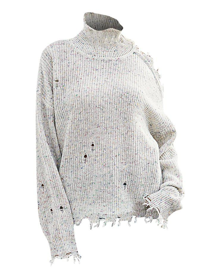 Trendy High Neck Heathered Distressed Open Shoulder Sweater