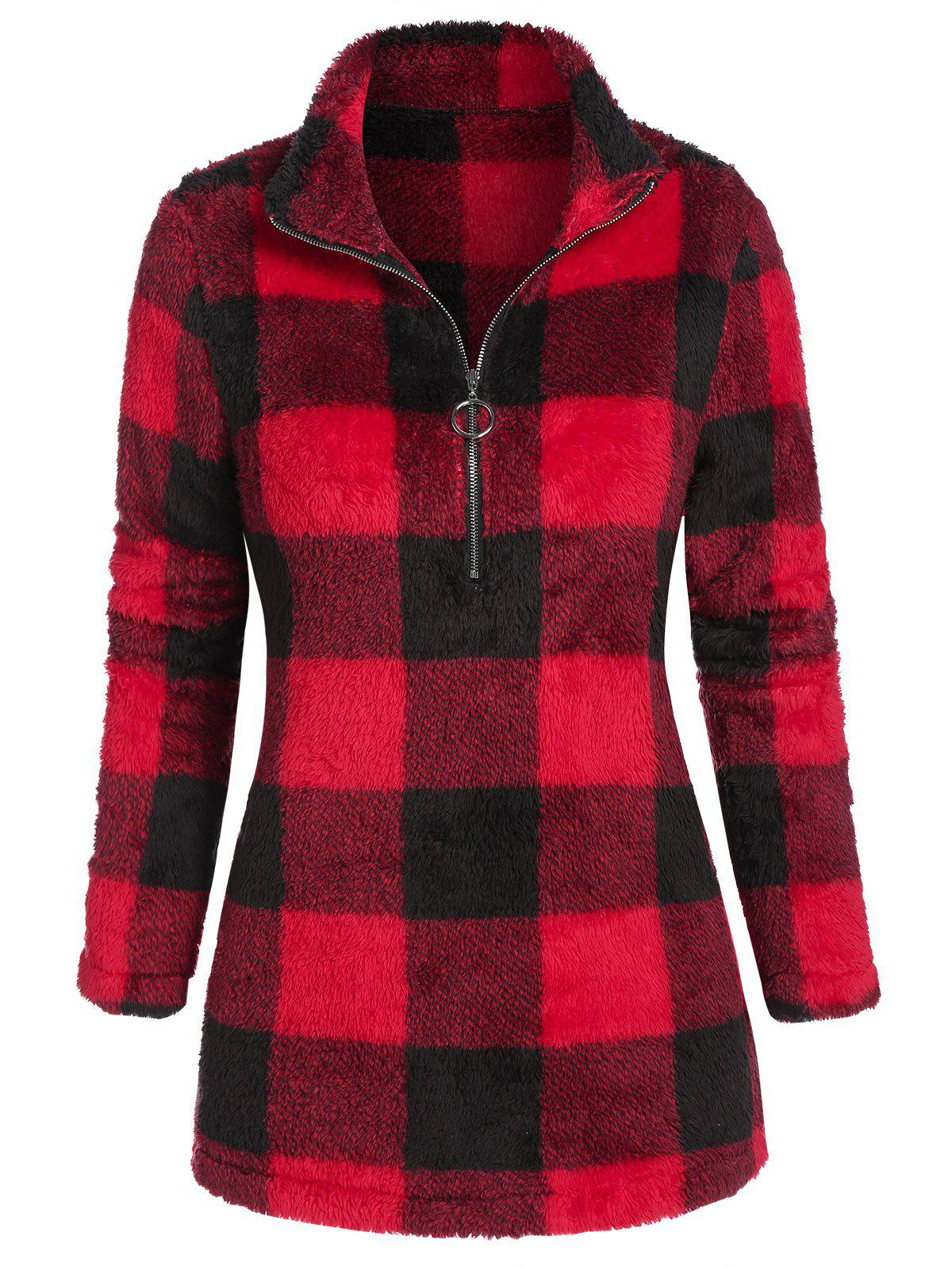Trendy Half Zipper Plaid Plush Sweatshirt