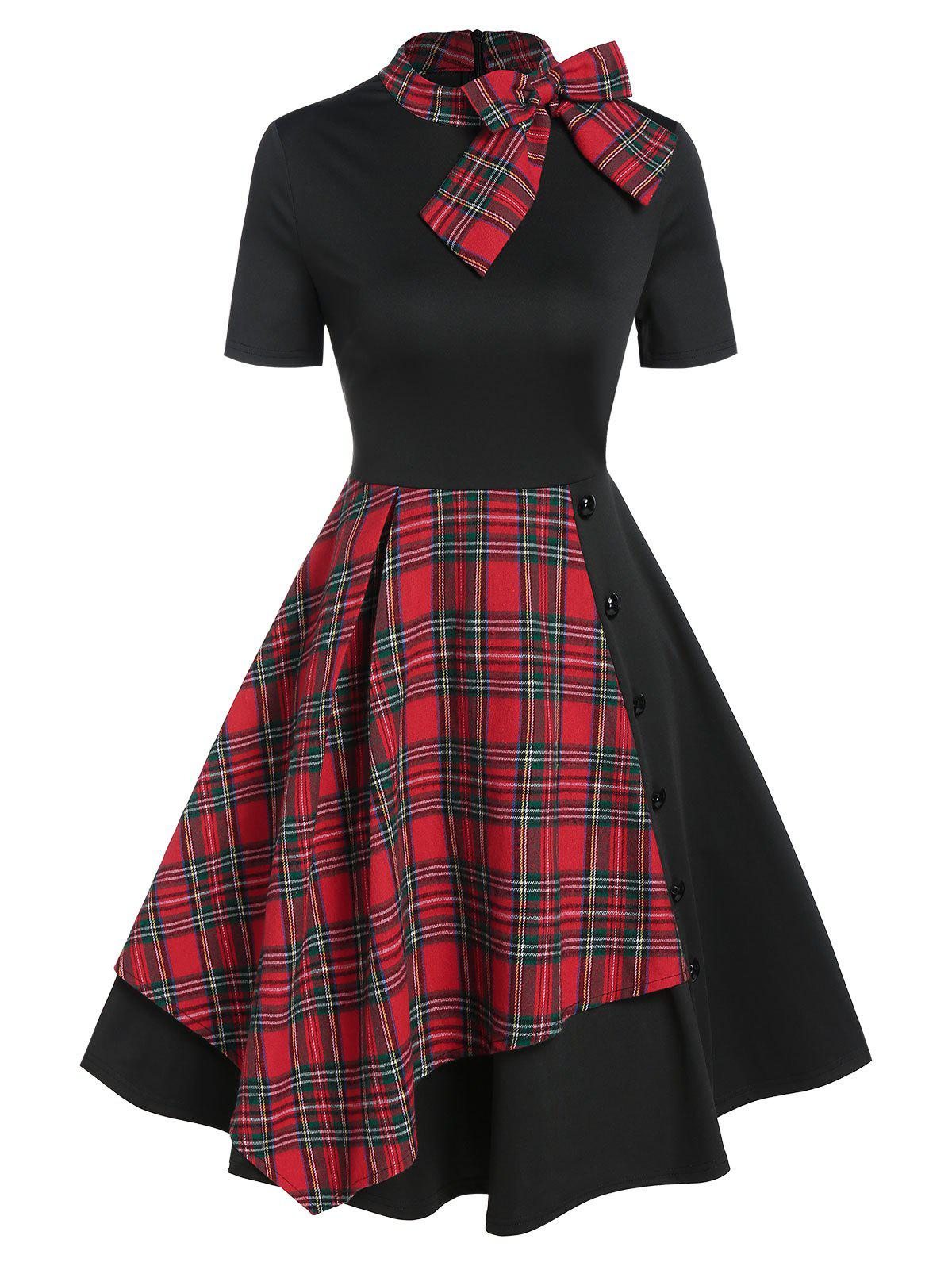 Chic Vintage Bowknot Plaid Fit and Flare Dress
