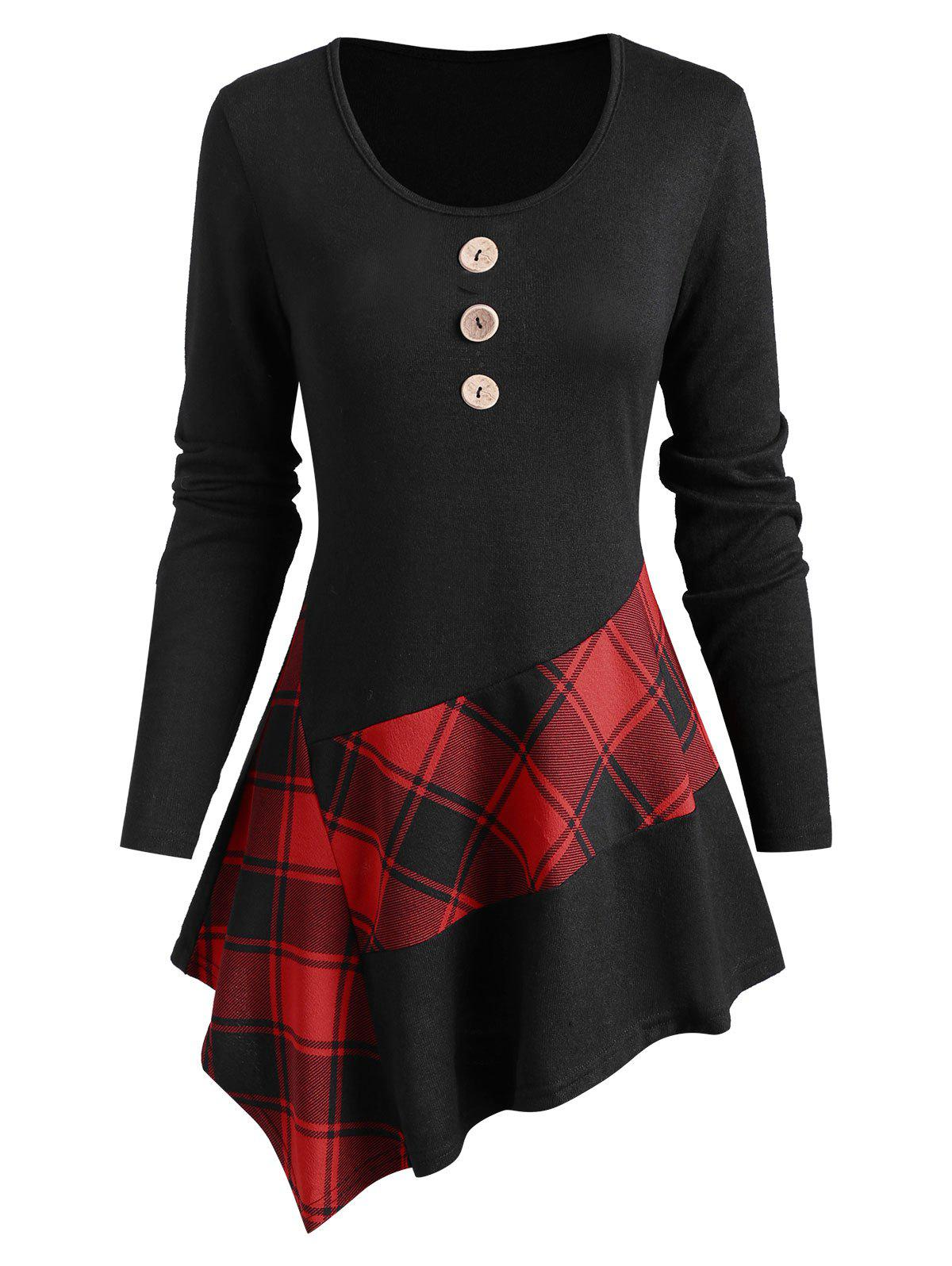 Trendy Plaid Panel Button Embellished Asymmetrical Knitwear