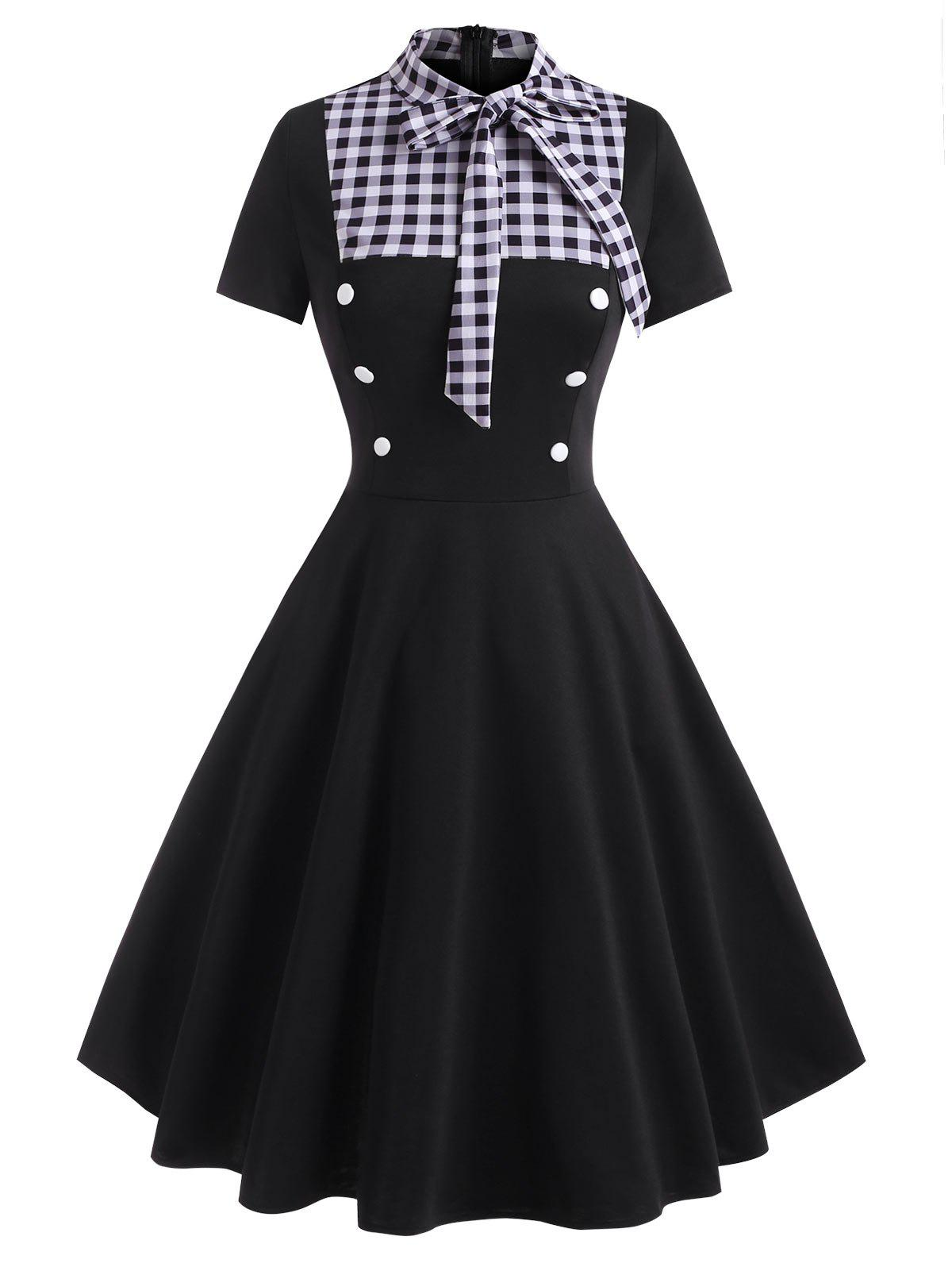 Trendy Pussy Bow Gingham Mock Button Dress