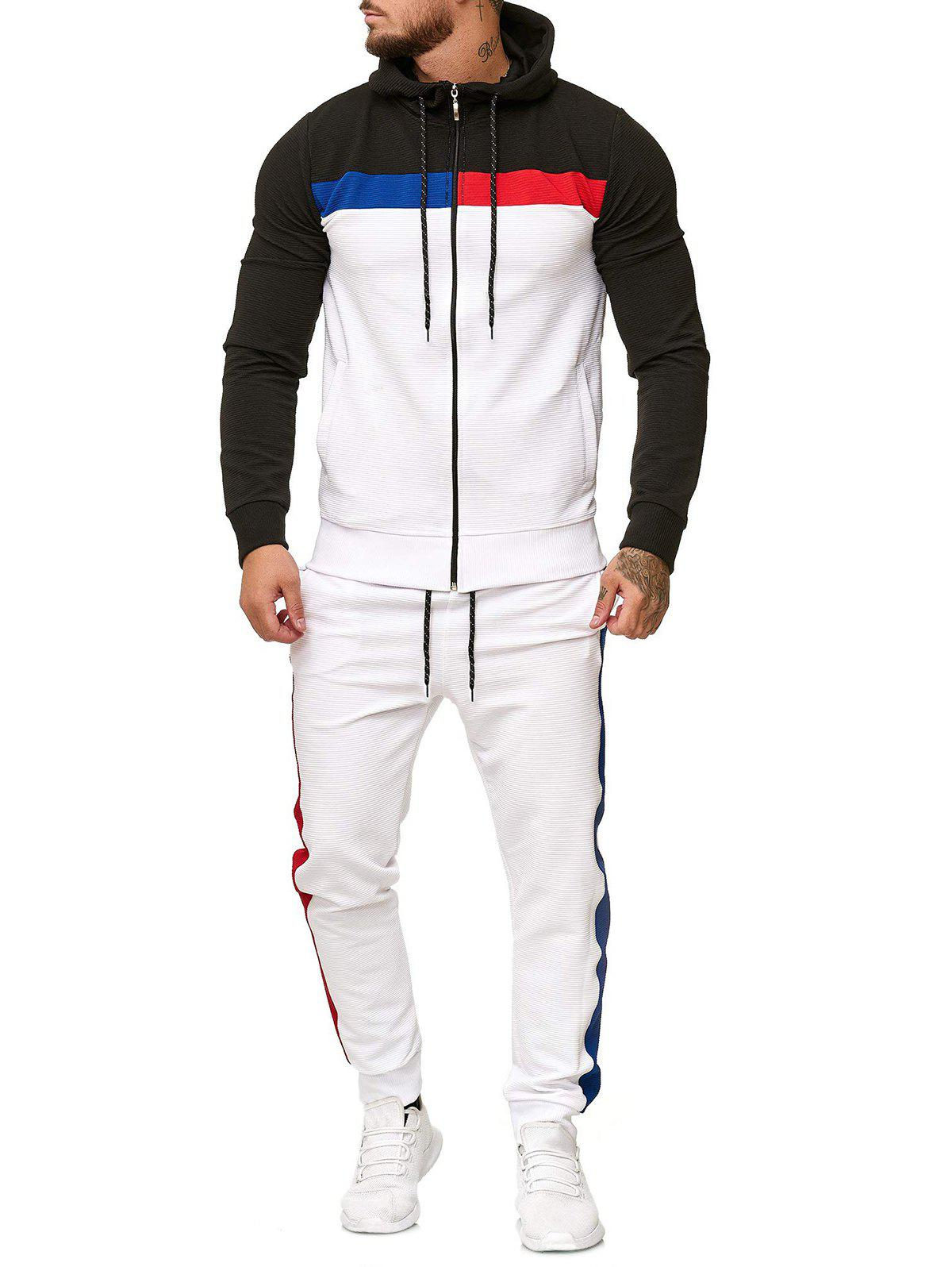 Outfits Contrast Zip Up Hoodie and Sports Pants Two Piece Set