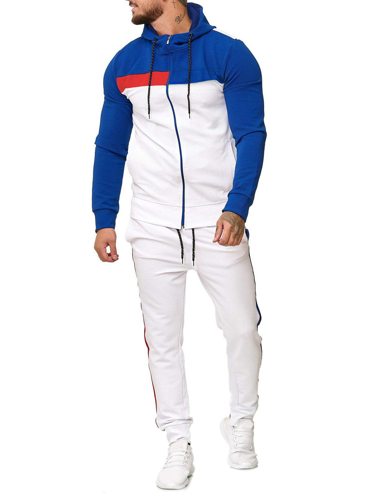Outfit Contrast Zip Up Hoodie and Sports Pants Two Piece Set