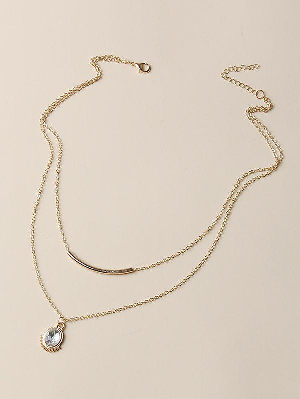 Oval Faux Crystal Pendant Layered Necklace