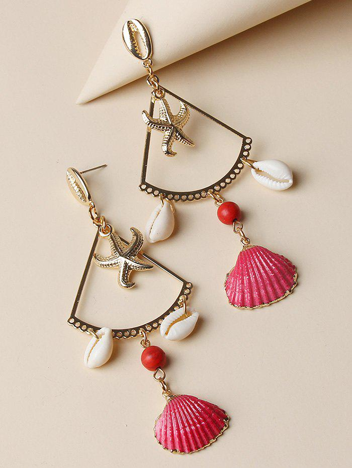 Unique Hollow Starfish Cowrie Shell Dangle Earrings